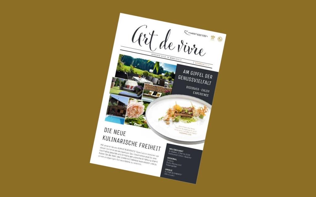Relais Chateaux 5 Sterne Hotel Rosengarten Tirol Simon Taxacher neues Gaestemagazin Art de Vivre