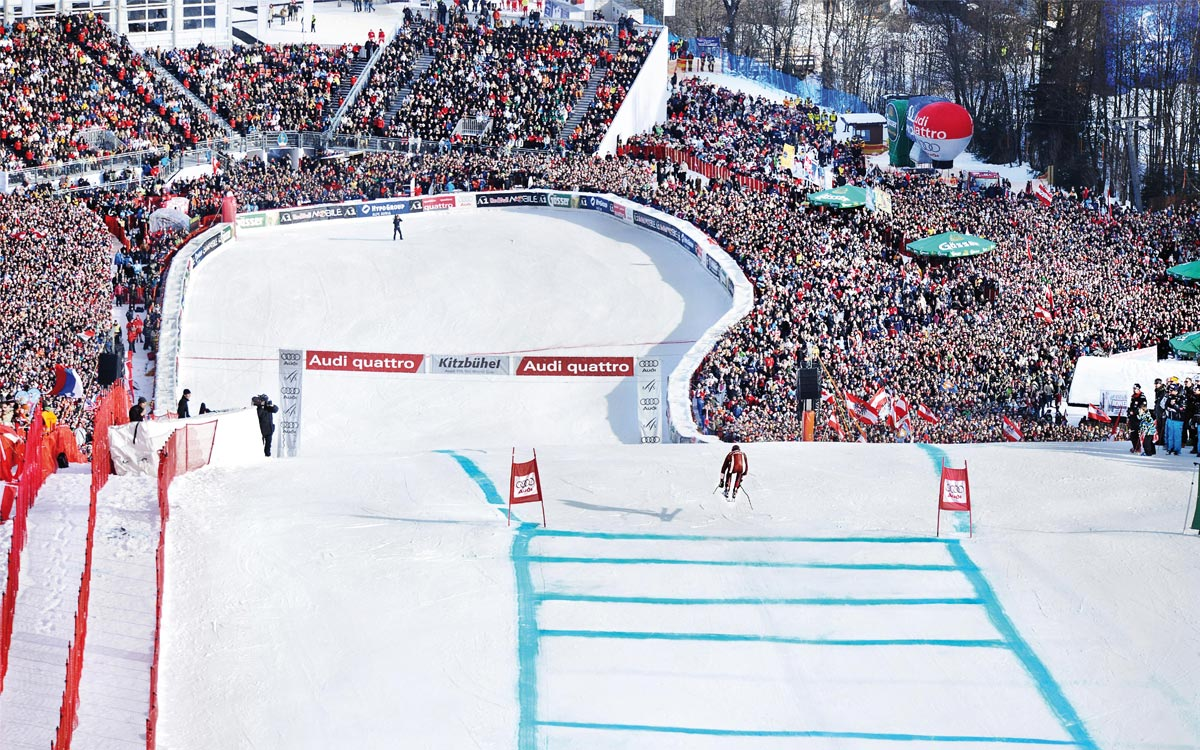 The Hahnenkamm races at the Rosengarten in Kitzbühel at 5-star Rosengarten spa hotel in Kirchberg Tyrol Austria