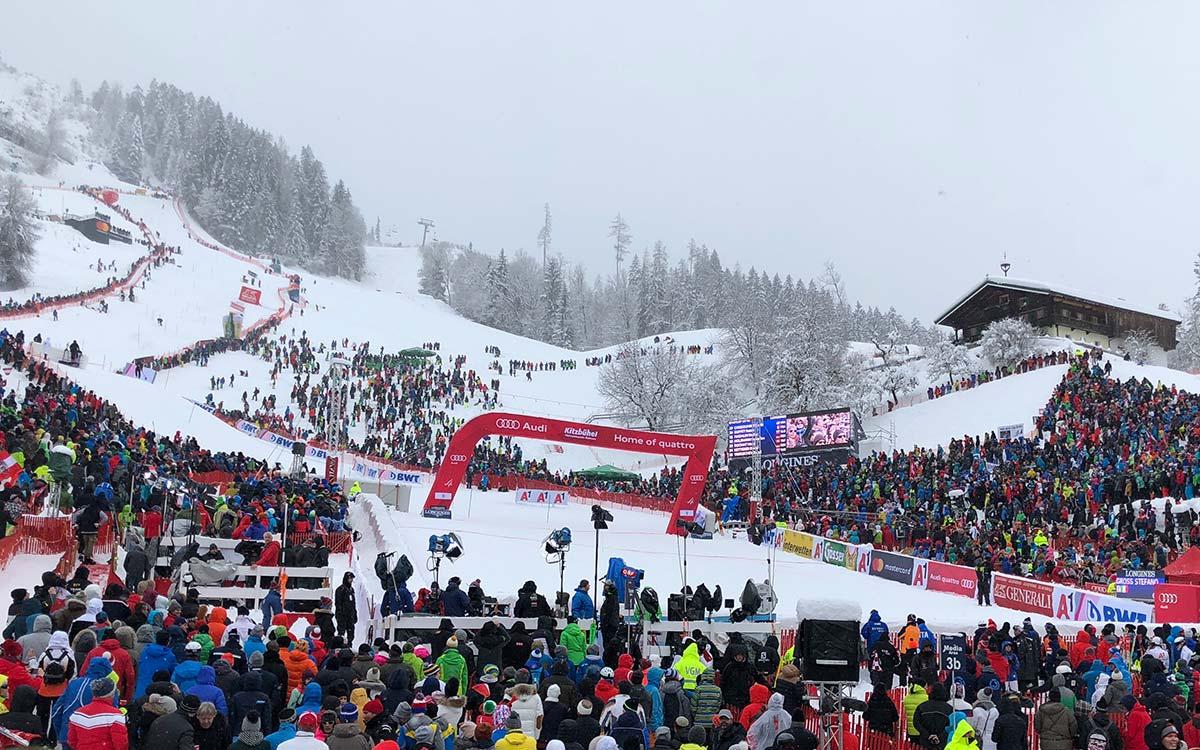 The Hahnenkamm races at the Rosengarten in Kitzbühel at 5-star Rosengarten spa hotel in Kirchberg Tyrol Austria