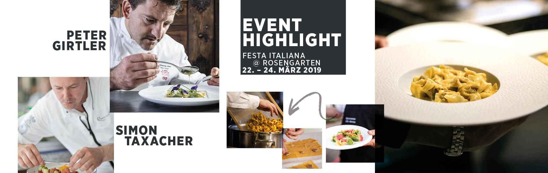 EVENT HIGHLIGHT Simon Taxacher und Peter Girtler im 5-Sterne-Hotel Relais Chateaux Rosengarten Tirol Austria